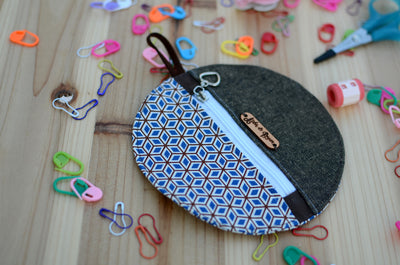 Mini coin purse/ Perfect for gift exchange, stocking stuffer, and self-gifting/ Geometric blue