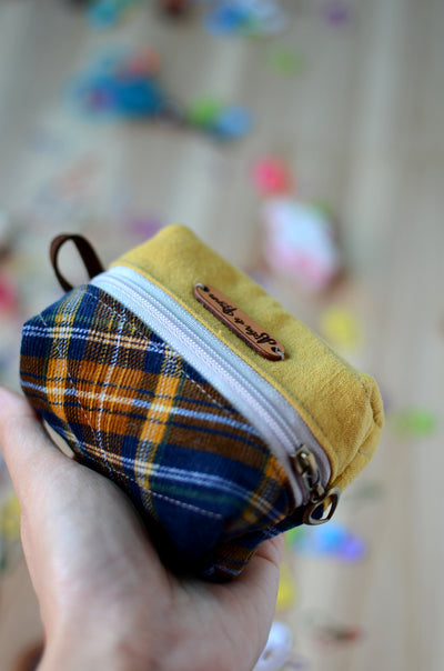 Handy mini box storage for your knit essentials/ mustard