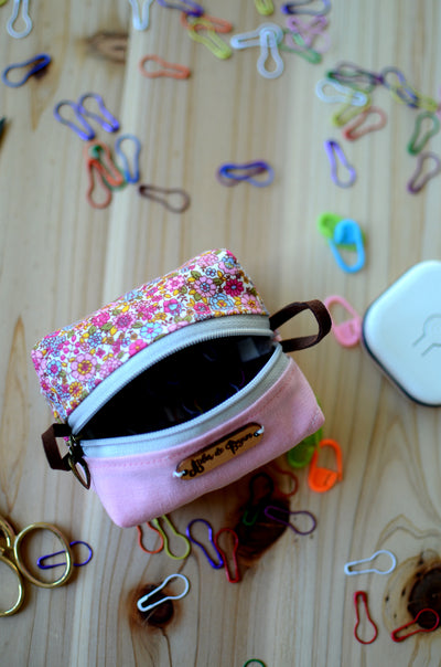 Cute mini box pouch for your crochet essentials/ Sweet Pink