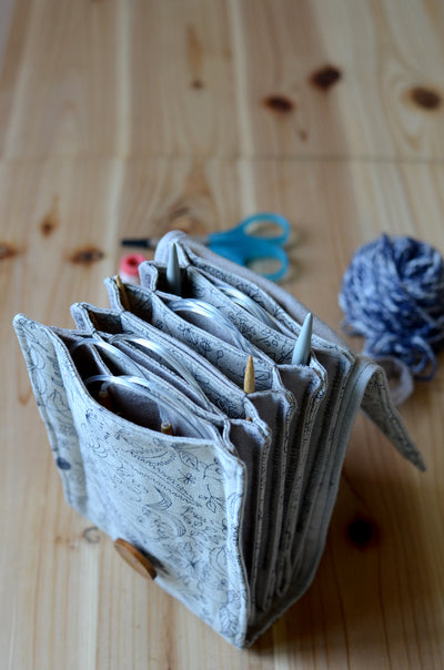 Spacious knitting needle case for many circular needle sets. Printed Natural Linen