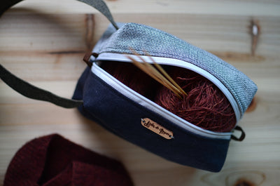 Knitting Project bag that sock knitters must-have/ Black