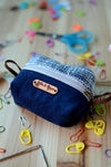 Stitch marker case/ gift idea for knitters and crochet lovers/ midnight blue