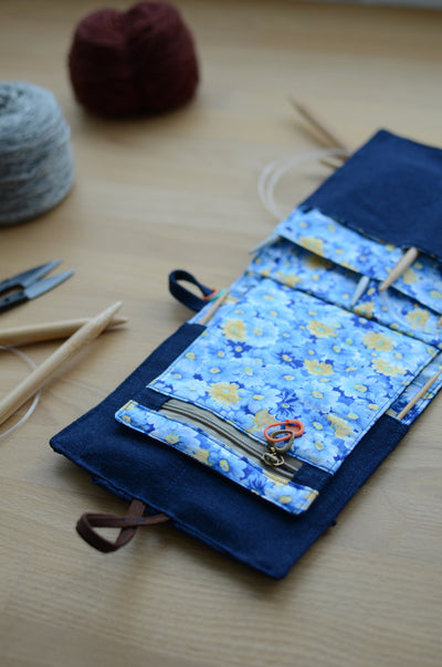 circular knitting needle case for weekend getaway and summer vacation. perfect idea for knit out.