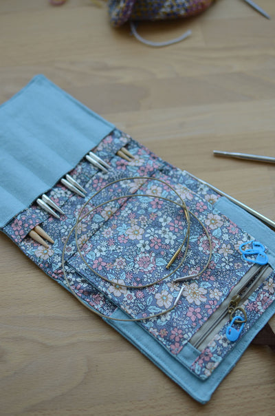 Perfect summer vaction knitting needle case with style: great for full set of interchangeable needles