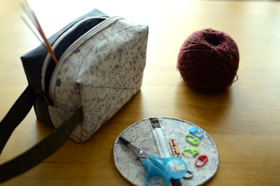 Cute project bag with handle/ unique gift for sock knitters