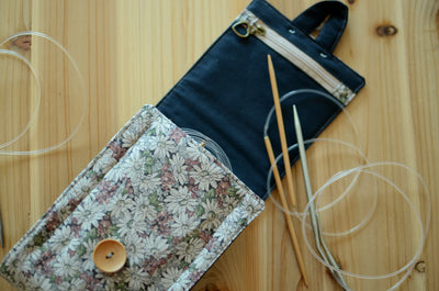 fiber art inspired circular knitting needle case in grellow