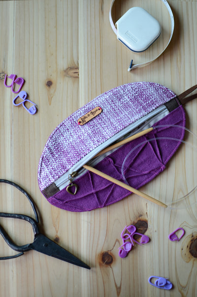 Mini knitting organizer in violet/ great for scissors, stitch markers, darning needles, and more
