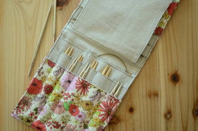 knitting needle organizer for interchangeable needle set/ print on linen