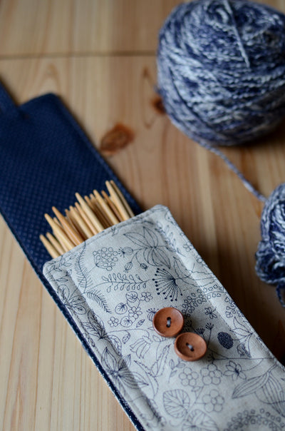 DPN Knitting Needle Case Accordion Style in natural linen for sock knitters