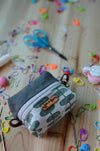 Cute mini box pouch for your crochet knit essentials/ Dark Green
