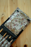 Interchangeable knitting needle case for more than a full set/ big knitting needle storage/ print on natrual linen