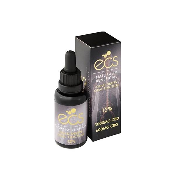 ECS Gold Drops 12% 3000mg CBD + 600mg CBG Hemp Oil 30ML