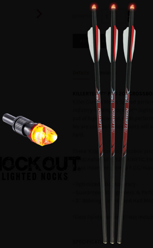 KILLERTECH™ PRO BOLTS W/ LIGHTED KNOCK (3PK)