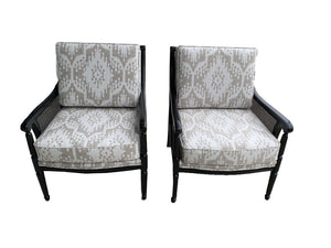 Set of 2 Antique Black Accent Chairs with Wicker Side Panels - Grand Expressions Gallery and Home Store