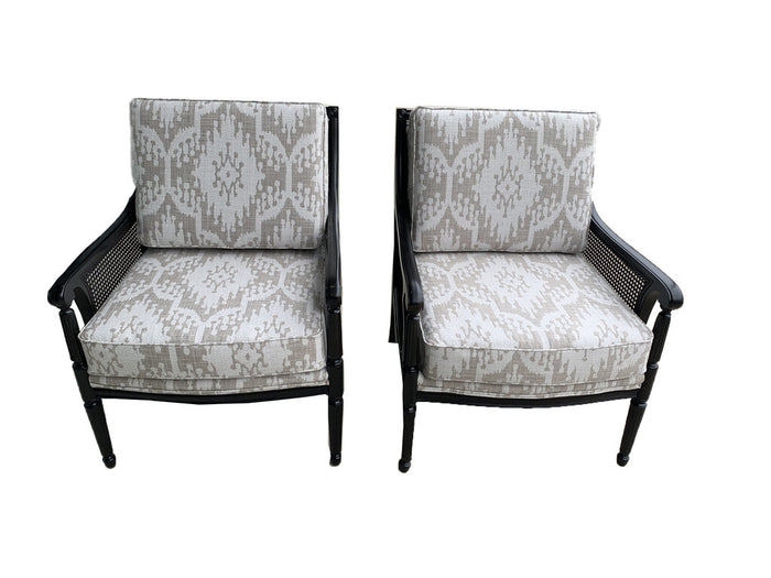 Set of 2 Antique Black Accent Chairs with Wicker Side Panels