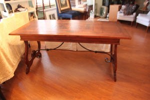 Italian Wood Inlay Farm Style Desk/Table With Wrought Iron Rod Trim - Grand Expressions Gallery and Home Store