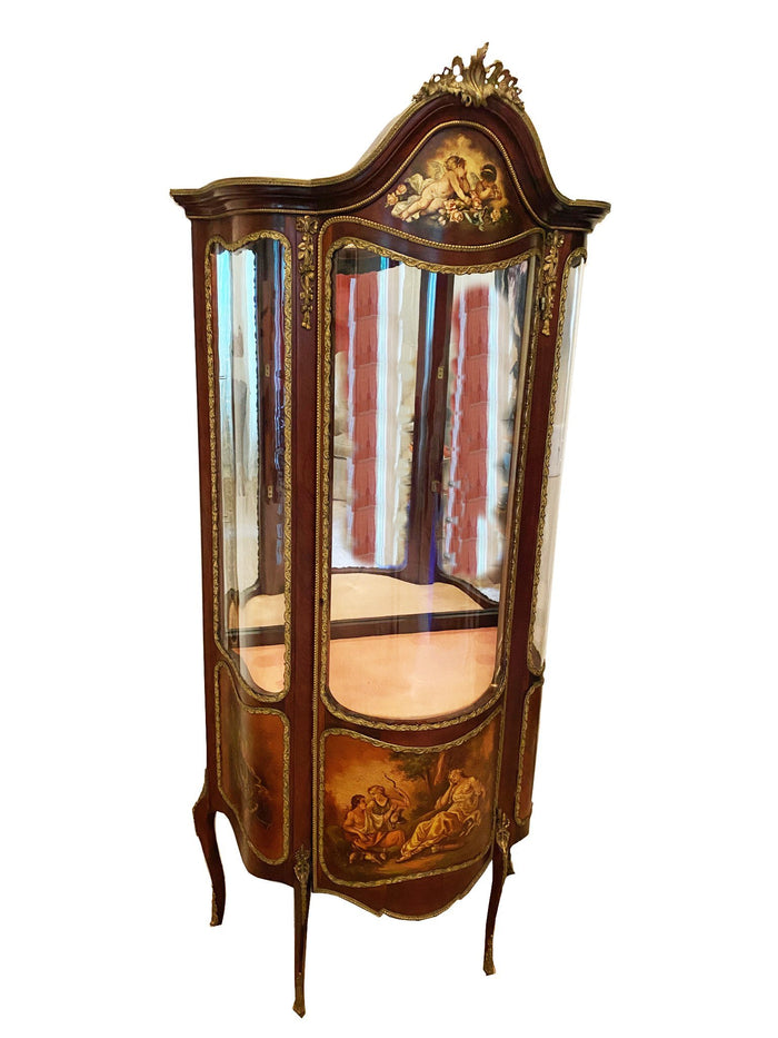Painted French Louis XV Style Vitrine Display Cabinet