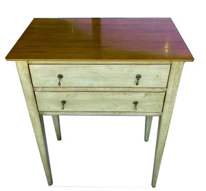 French Distressed Green Table With Natural Maple Top And Drawer - Grand Expressions Gallery and Home Store