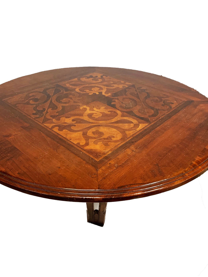 Vere Antichita Positano Round Inlay Pedestal Coffee Table by Artitalia