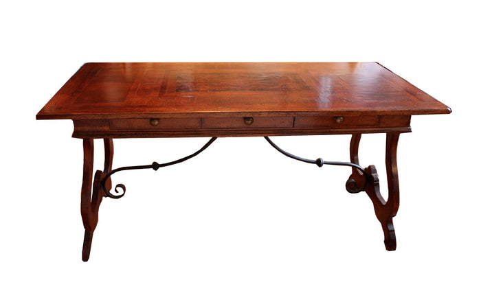 Italian Wood Inlay Farm Style Desk/Table With Wrought Iron Rod Trim