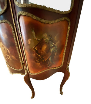 Painted French Louis XV Style Vitrine Display Cabinet - Grand Expressions Gallery and Home Store