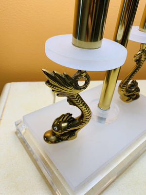 Neoclassical Lucite and Brass Lamp with Koi Fish - Grand Expressions Gallery and Home Store
