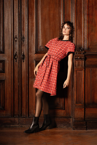 MiaGiacca red tweed dress