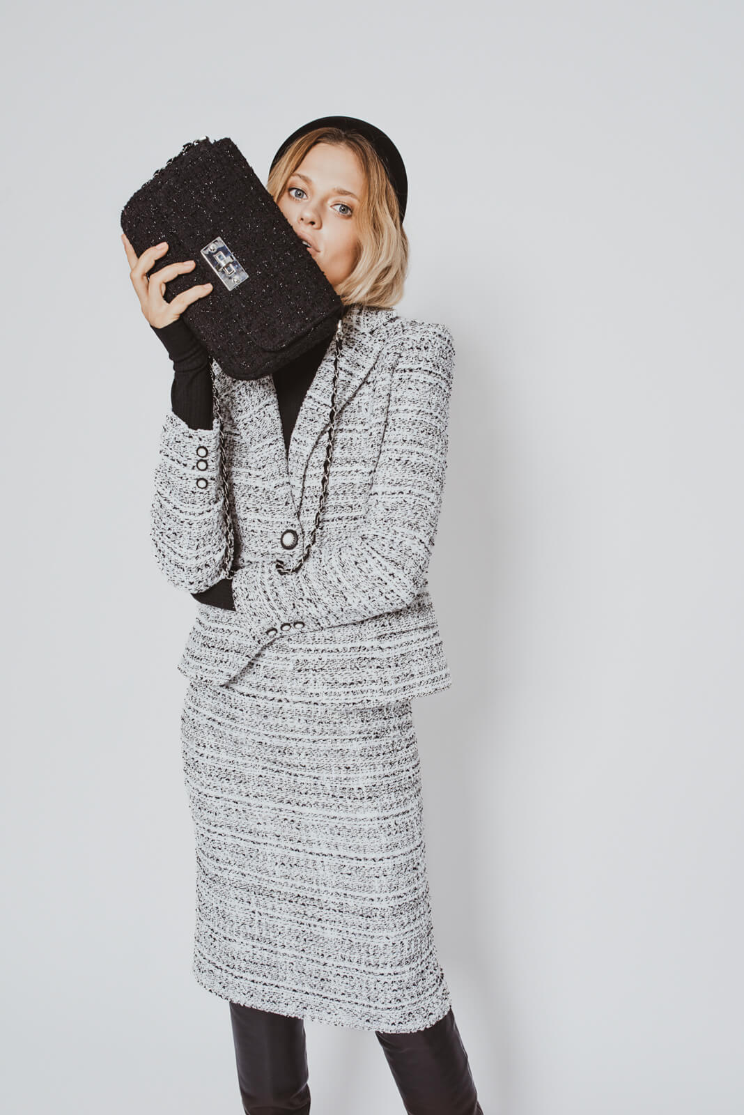 Black and white tweed skirt suit MiaGiacca