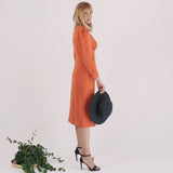 'Leona' ripe orange wool crepe midi dress