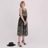 'Pola' geometric print pleated midi skirt