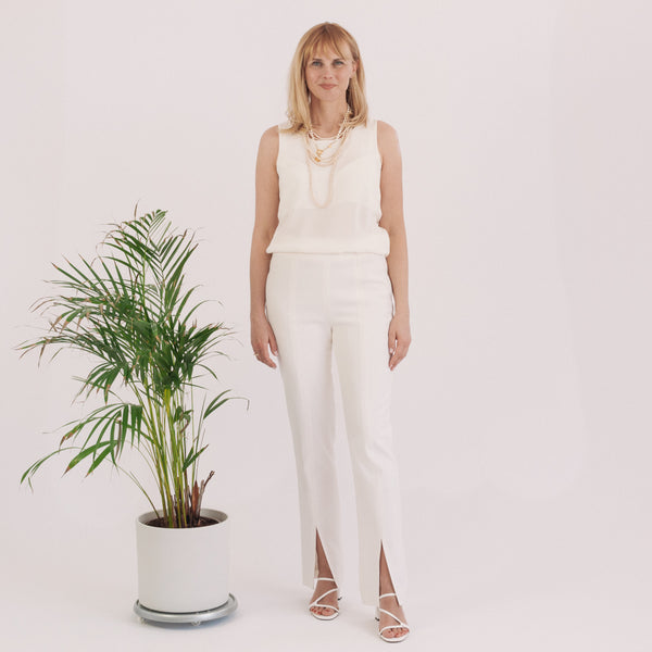 'Bella' high-rise off white super wool pants