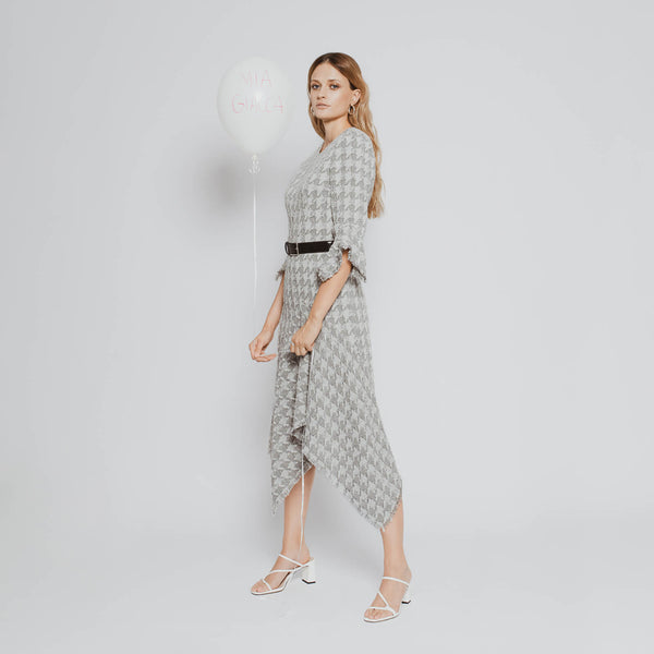 'Anna' houndstooth asymmetric godet drape tweed dress