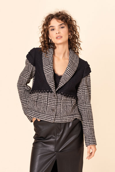 Houndstooth print wool tweed jacket