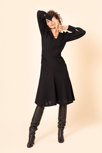 Black godet wool-crepe dress