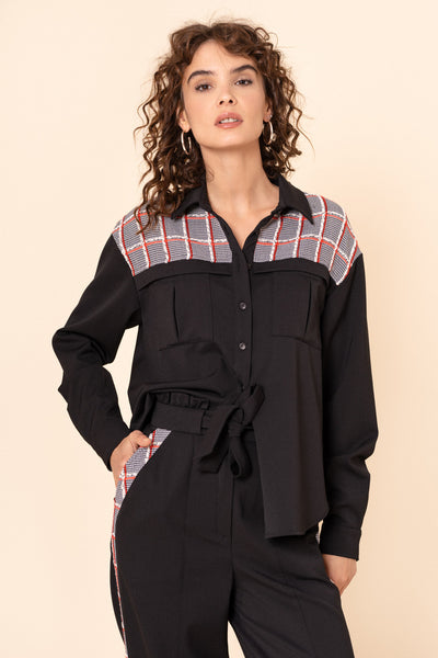 Black wool overshirt with a tweed yoke SAMPLE SALE