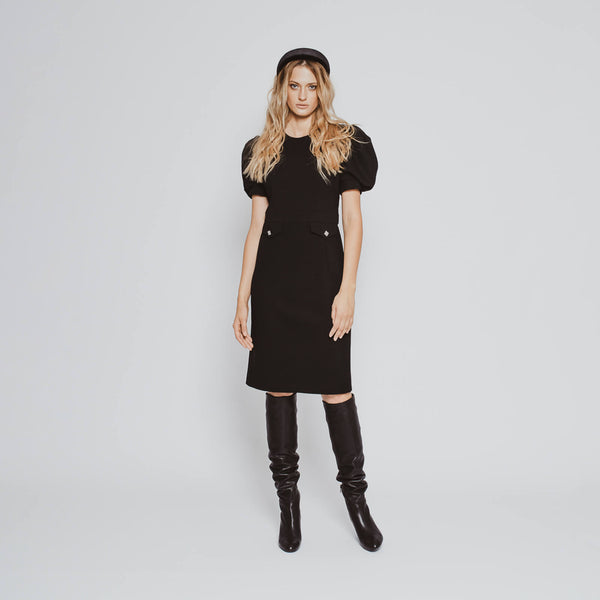 'Celine' puffed sleeve wool crepe little black dress