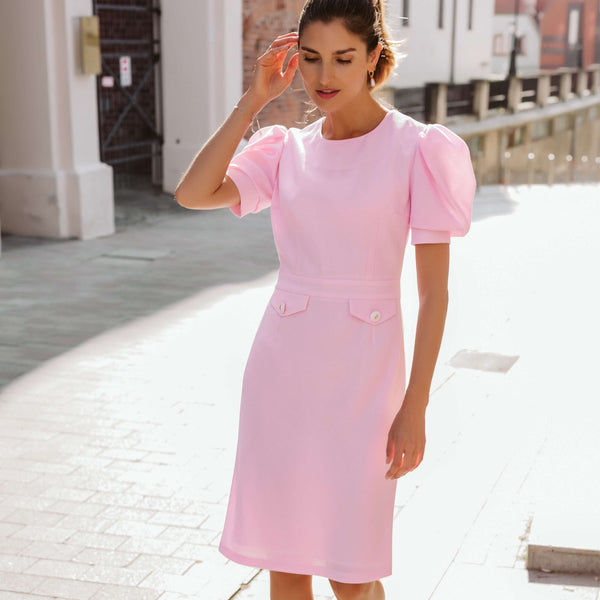 'Celine' puffed sleeve wool crepe candy pink dress