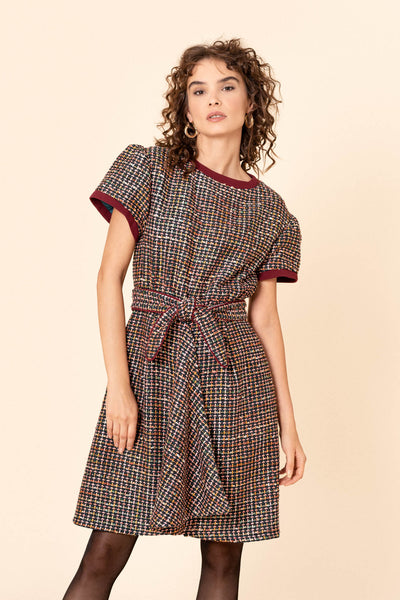 Dark green tweed dress with a belt