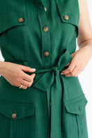 'Gaia' green sleeveless linen dress