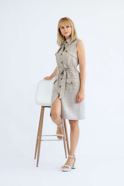 'Gaia' natural sleeveless linen dress