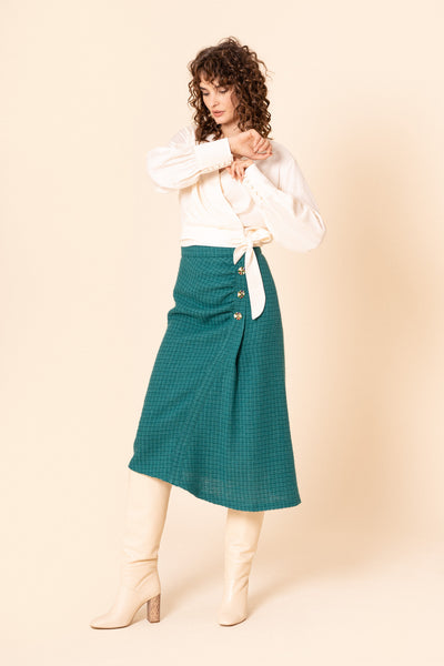 Green asymmetric ruched wool midi skirt