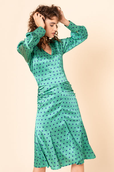 Green godet polka dot silk dress
