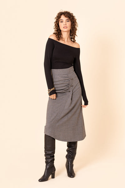 Grey asymmetric ruched wool midi skirt