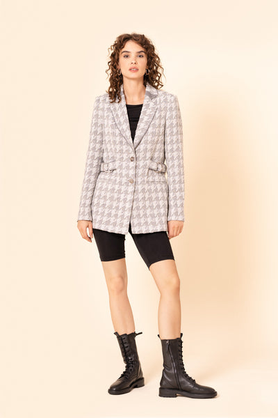 Grey houndstooth long tweed blazer