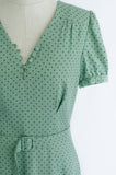 'Gwen' mint polka dot short sleeve dress