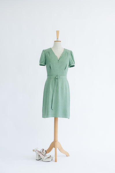 'Gwen' mint polka dot short sleeve dress SAMPLE SALE
