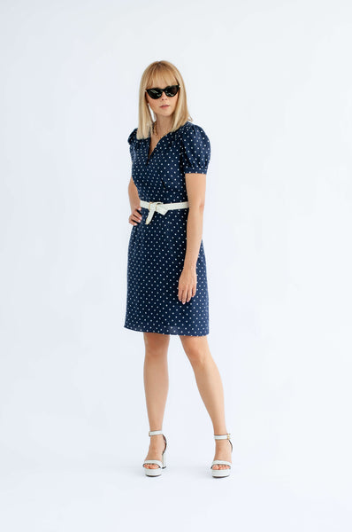 'Gwen' navy polka dot short sleeve dress