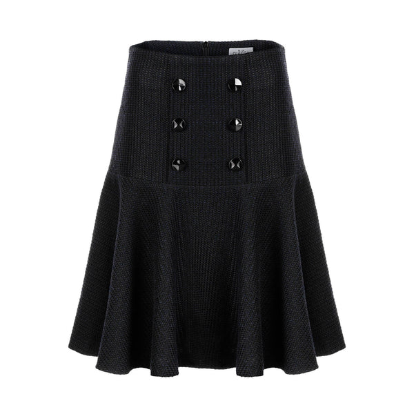 'Jackie I' black navy boucle skirt