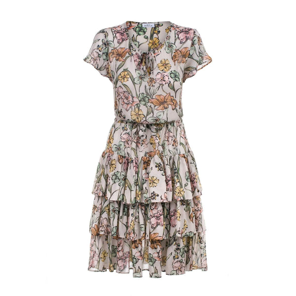 'Kelly' floral print layered ruffle dress