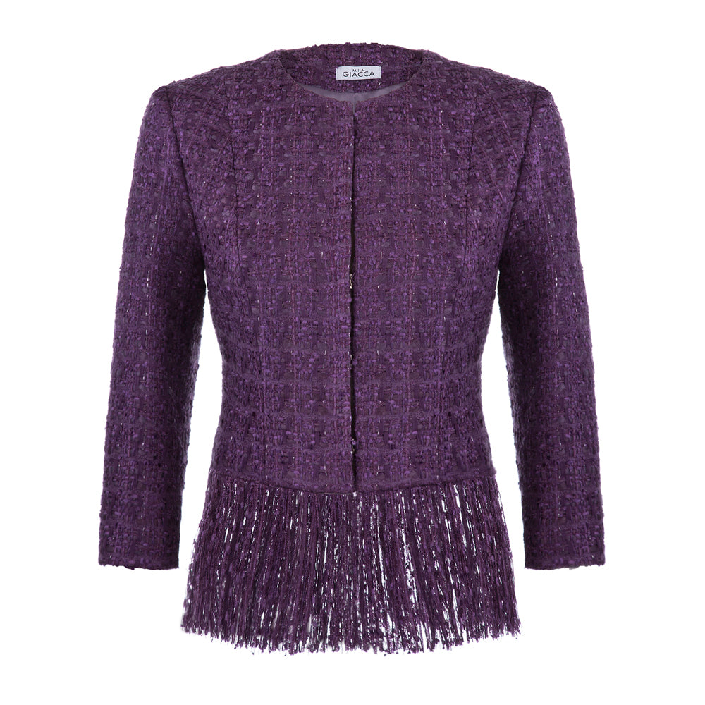 'Sophie' Ultra violet tweed jacket with fringe
